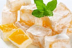 Mastic-flavored jelly cubes (Greek Turkish delight) Stock Photo