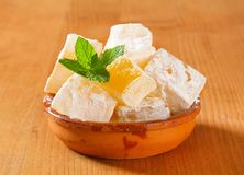 Mastic-flavored jelly cubes (Greek Turkish delight) Stock Images