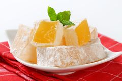 Mastic-flavored jelly cubes (Greek Turkish delight) Stock Photography