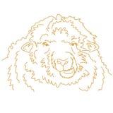 Masticación divertida de las ovejas Dibujo lineal del vector Foto de archivo