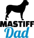 Mastiff dad silhouette. With blue word Stock Image