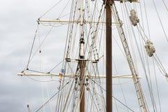 Masting of big wooden sailing ship, detailed rigging.  Royalty Free Stock Photos