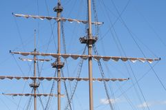 Masting of the big wooden sailing ship Royalty Free Stock Images