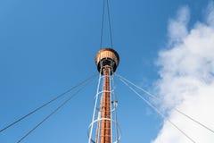 Masting of the big wooden sailing ship Royalty Free Stock Image