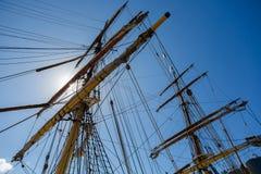 Masting of big wooden sailing ship Royalty Free Stock Photo