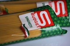 Mastpastaspagetti, budget- märke Royaltyfria Foton