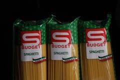 Mastpastaspagetti, budget- märke Arkivfoton