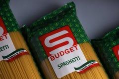 Mastpastaspagetti, budget- märke Arkivfoto
