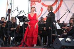 Mastrangelo italiano de Fabio do soprano do schillaci de Daniela da estrela de ópera da diva (teatro La Scala, Italia) e do maest Fotografia de Stock