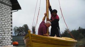 Mastro da plataforma de madeira do veleiro filme