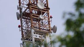 Mastro da telecomunica??o com rela??o de micro-ondas e antenas de transmissor vídeos de arquivo