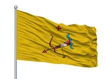 Mastro de bandeira de Gus Khrustalny City Flag On, Rússia, Vladimirskaya Oblast, isolado no fundo branco ilustração royalty free