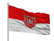 Mastro de bandeira de Hun Sopron City Flag On, Hungria, isolada no fundo branco Ilustração Royalty Free