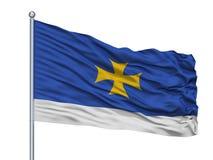 Mastro de bandeira de Oni Municipality City Flag On, Geórgia, isolado no fundo branco Ilustração Royalty Free