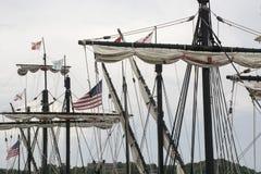 Mastros de um navio alto foto de stock