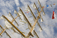 Masts. And rigging with nautical signal flags Royalty Free Stock Photography