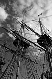Masts. Black and white photo of old ship masts from below royalty free stock image