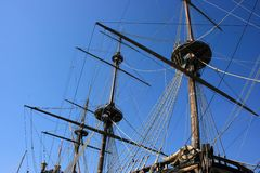 Masts of ancient battleship Royalty Free Stock Photography