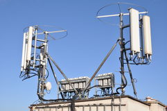 Masts and antennas cellular systems Stock Images