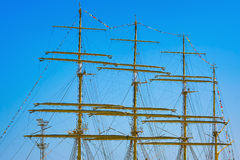 Masts of Barque. Four Masts of Barque over the Blue Sky royalty free stock photo