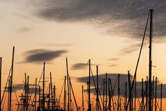 Masts of boats during a sunset in the port Stock Images