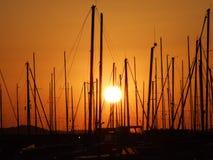 Masts in the Dalmatian marina royalty free stock photography