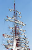 Masts with deflated sails Stock Image