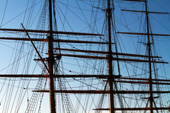 Masts on a fullrigger. Masts on a vintage sailing vessel royalty free stock photo