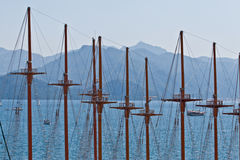 Masts in the harbor Royalty Free Stock Photo
