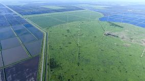 Masts longwave antennas communication among the rice fields floo. Ded. Telecommunications and communications equipment and radar Stock Images