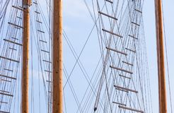 Masts. And ropes on sky background royalty free stock photo