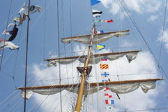 Masts and nautical flags Stock Photos