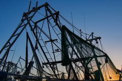 Masts and Nets Silhouette. In Biloxi royalty free stock images