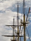 Masts of an old sailing ship royalty free stock photos