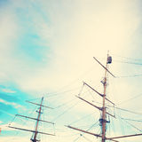 Masts. Of an old ship stock photography