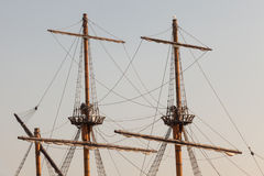 Masts of a pirate ship. Wooden masts of a pirate ship stock image