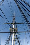 Masts and rigging 1. Masts and rigging of a historic war ship royalty free stock photos