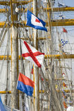 Masts and rigging. With nautical signal flags Stock Images