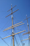 Masts and rigging. On a historic square-rigger stock photography