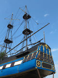 Masts and rigging of a old sailing ship over blue sky Stock Photo