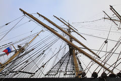 Masts and rigging of the Russian sailing ship Stock Images