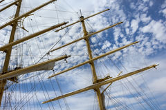 Masts and rigging of a sailing ship Stock Photo