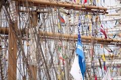 Masts and rigging of a sailing ship Royalty Free Stock Photos