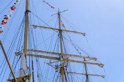 Masts and rigging of a tall ship Stock Photo