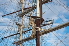 Masts with rigging of two sailing vessels Stock Photos