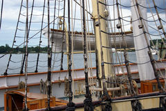 Masts, rigging and yardarms. Of 19th century sailing ship, Old Mystic Seaport, Connecticut royalty free stock images