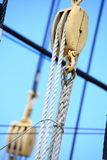 Masts and rope of sailing ship. Royalty Free Stock Photo