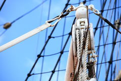 Masts and rope of sailing ship. Stock Images