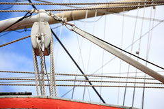 Masts and rope of sailing ship. Royalty Free Stock Photos