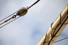 Masts and rope of sailing ship. Stock Photo